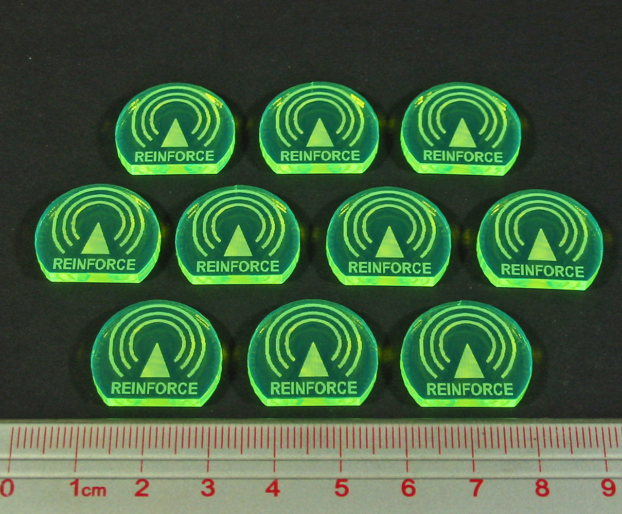 Space Fighter Reinforce Tokens, Fluorescent Green (10) - LITKO Game Accessories
