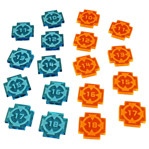 Space Fighter Target Lock Token Set #10-18, Fluorescent Blue & Fluorescent Orange (18) - LITKO Game Accessories