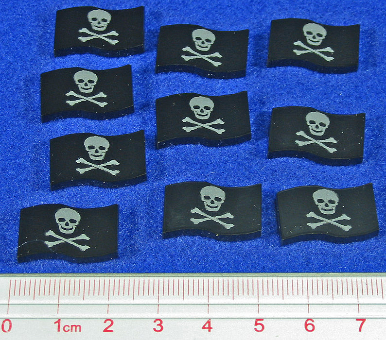 Jolly Roger Pirate Tokens, Black (10) - LITKO Game Accessories
