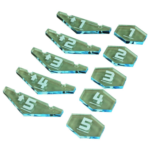 Space Combat Place Holder Token Set #1-5, Transparent Light Blue  (10) - LITKO Game Accessories