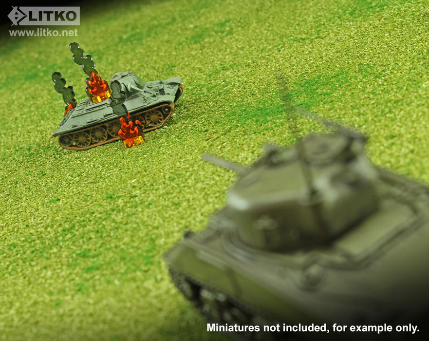 Flaming Wreckage Markers, Micro (10) - LITKO Game Accessories