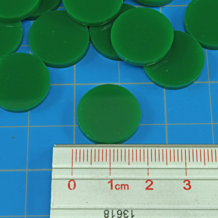 18mm Circular Game Tokens, Green (25) - LITKO Game Accessories