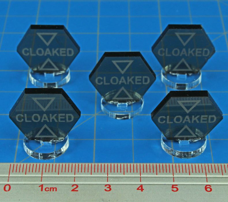 Space Fighter Cloaked Markers, Translucent Grey (5) - LITKO Game Accessories