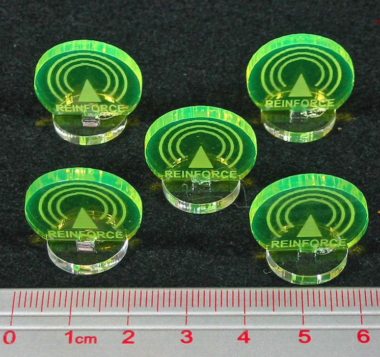 Space Fighter Reinforce Markers, Fluorescent Green (5) - LITKO Game Accessories
