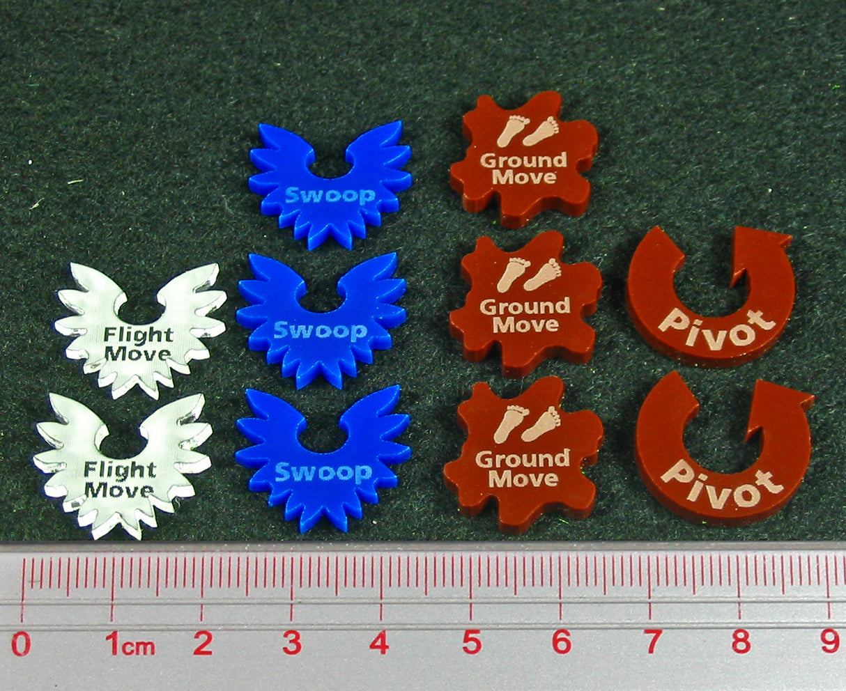 Dragon Wing Movement Token Set, Multi-Color (10) - LITKO Game Accessories