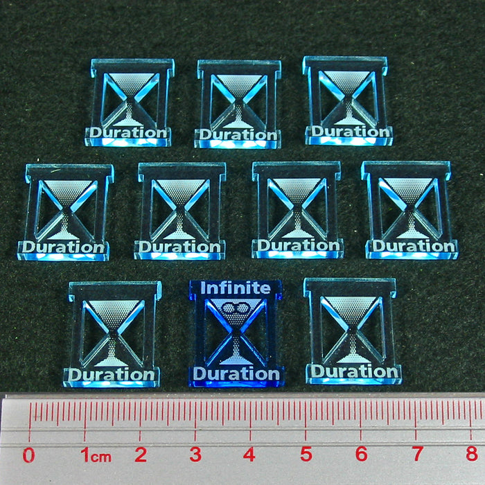 Dragon Wing Duration Token Set, Fluorescent and Transparent Light Blue (10) - LITKO Game Accessories