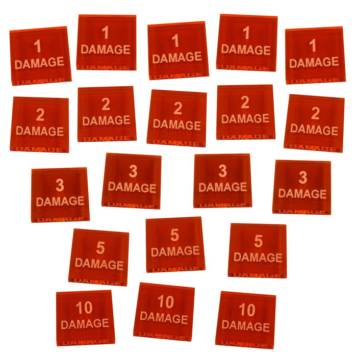 Numbered Damage Token Set, Fluorescent Amber (20) - LITKO Game Accessories
