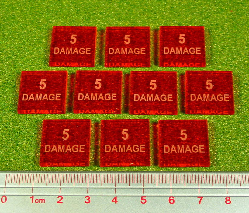 5-Damage Tokens, Fluorescent Amber (10) - LITKO Game Accessories