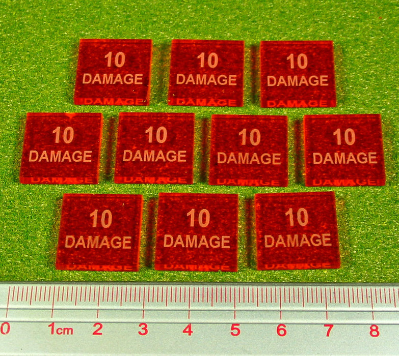 10-Damage Tokens, Fluorescent Amber (10) - LITKO Game Accessories