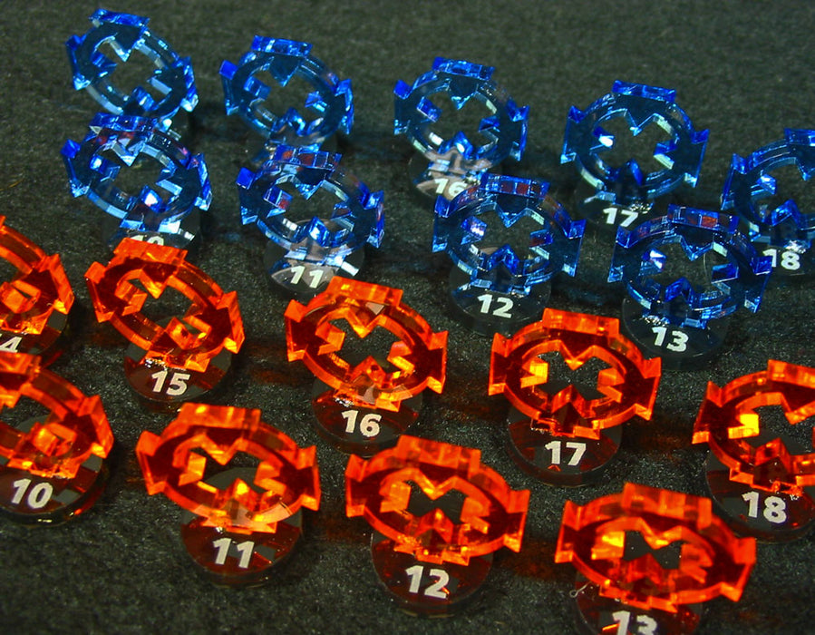 Space Fighter Target Marker Expansion Set #10-18, Fluorescent Blue and Fluorescent Orange (18) - LITKO Game Accessories