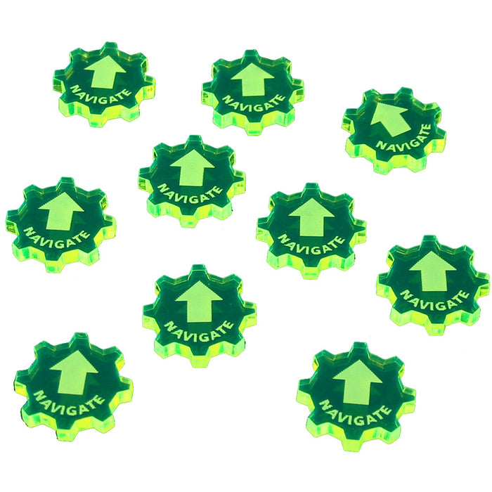 SW: Armada Navigate Command Tokens, Fluorescent Green (10) - LITKO Game Accessories