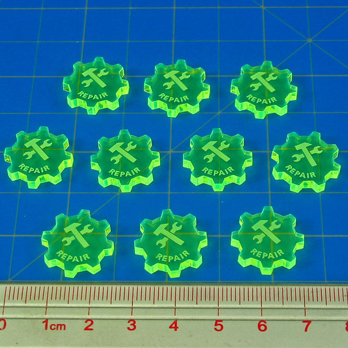 SW: Armada Repair Command Tokens, Fluorescent Green (10) - LITKO Game Accessories