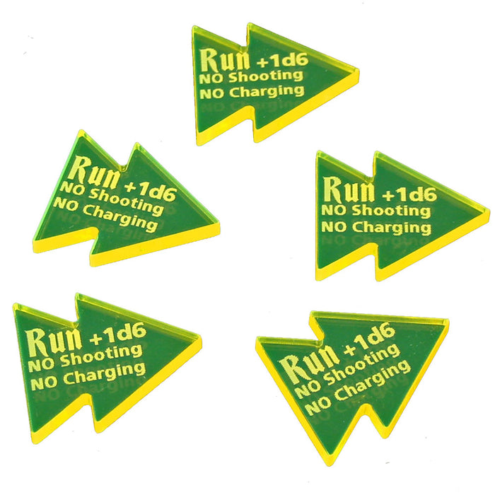 LITKO Run Tokens Compatible with AoS: 1st Edition, Fluorescent Yellow (5) - LITKO Game Accessories