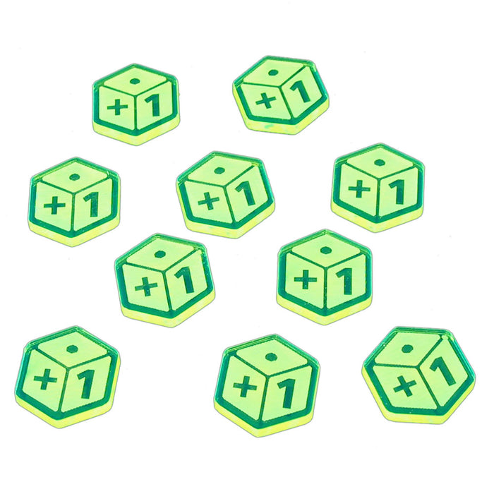 Plus One Tokens, Fluorescent Green (10) - LITKO Game Accessories