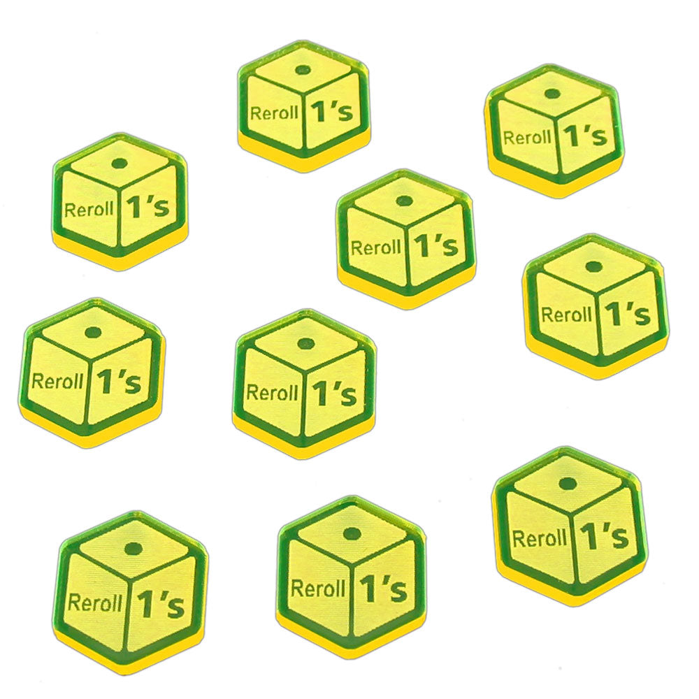 Reroll Ones Tokens, Fluorescent Yellow (10) - LITKO Game Accessories