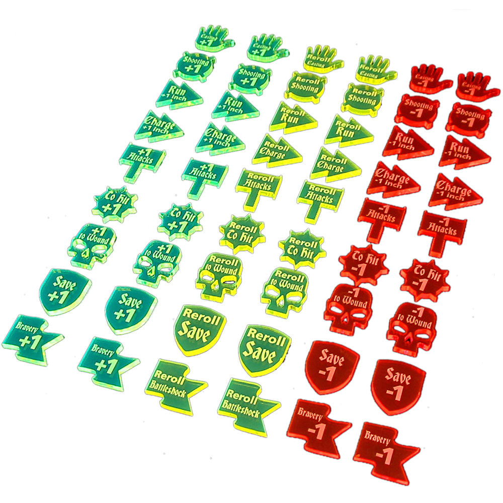 LITKO Buffs & Debuffs Token Set Compatible with AoS: 1st & 2nd Edition, Multi-Color (54) - LITKO Game Accessories