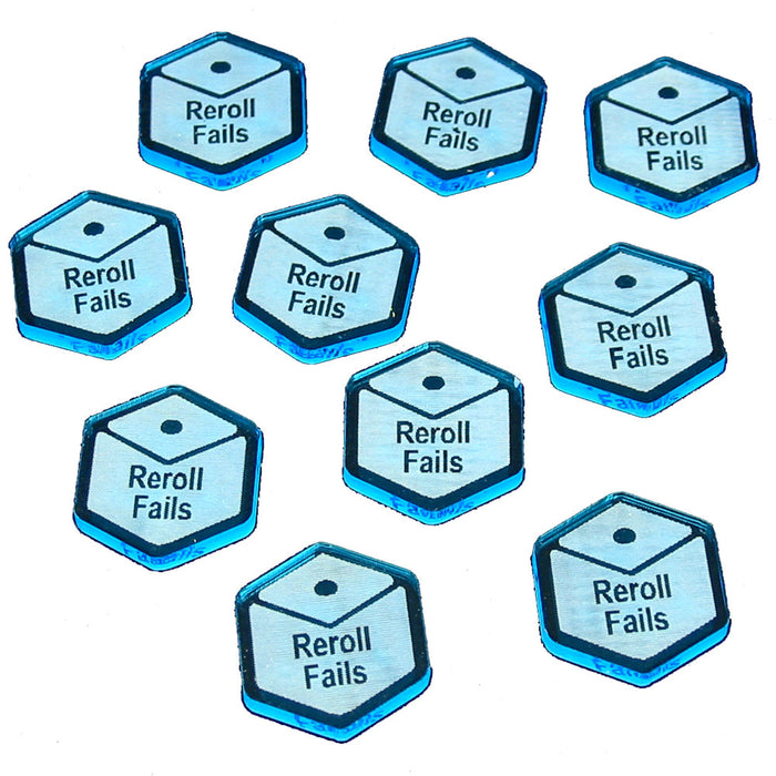 Reroll Fails Tokens, Fluorescent Blue (10) - LITKO Game Accessories