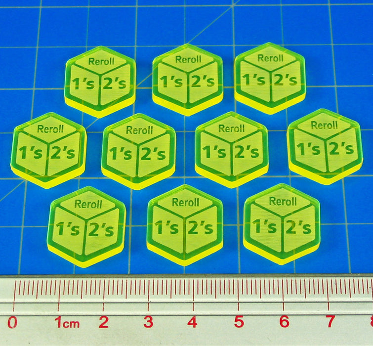 Reroll Ones and Twos Tokens, Fluorescent Yellow (10) - LITKO Game Accessories