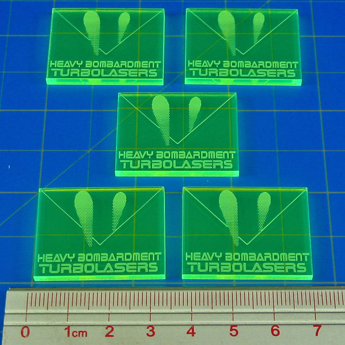 Space Fighter Turbolasers Tokens, Fluorescent Green (5) - LITKO Game Accessories