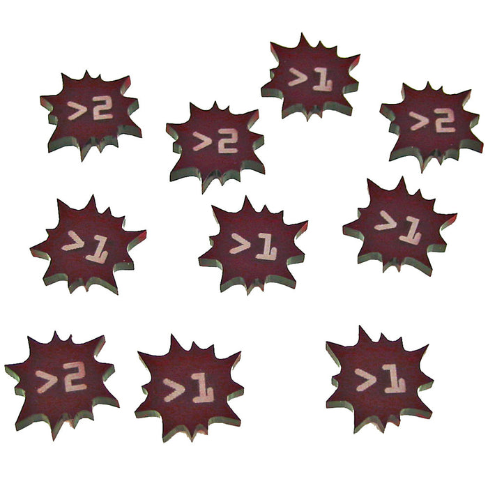 Terminator Damage Tokens 1-2, Translucent Red (10) - LITKO Game Accessories