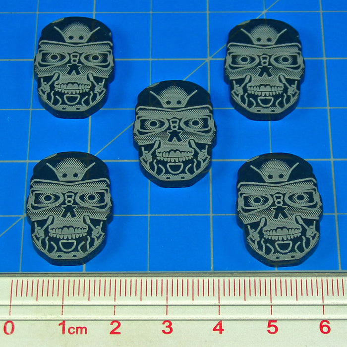 Robot Skull Tokens, Translucent Grey (5) - LITKO Game Accessories