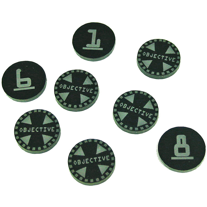 Terminator Objective Tokens 1-8, Black (8) - LITKO Game Accessories