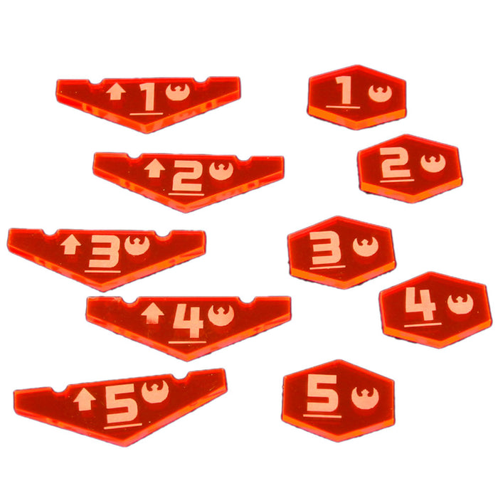 Space Fighter Rebel Place Holder Token Set #1-5, Fluorescent Pink (10) - LITKO Game Accessories