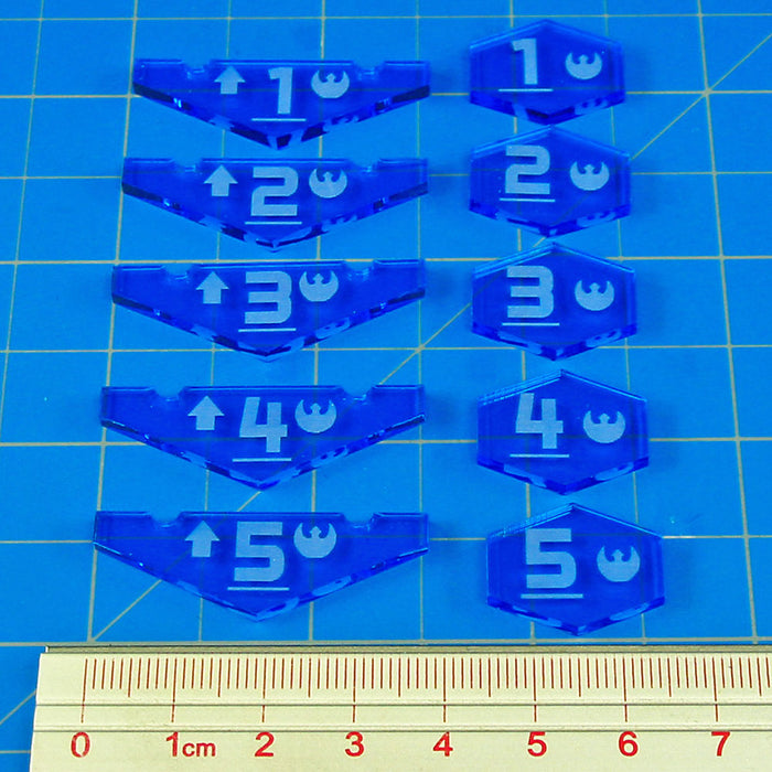 Space Fighter Resistance Place Holder Token Set #1-5, Fluorescent Blue (10) - LITKO Game Accessories