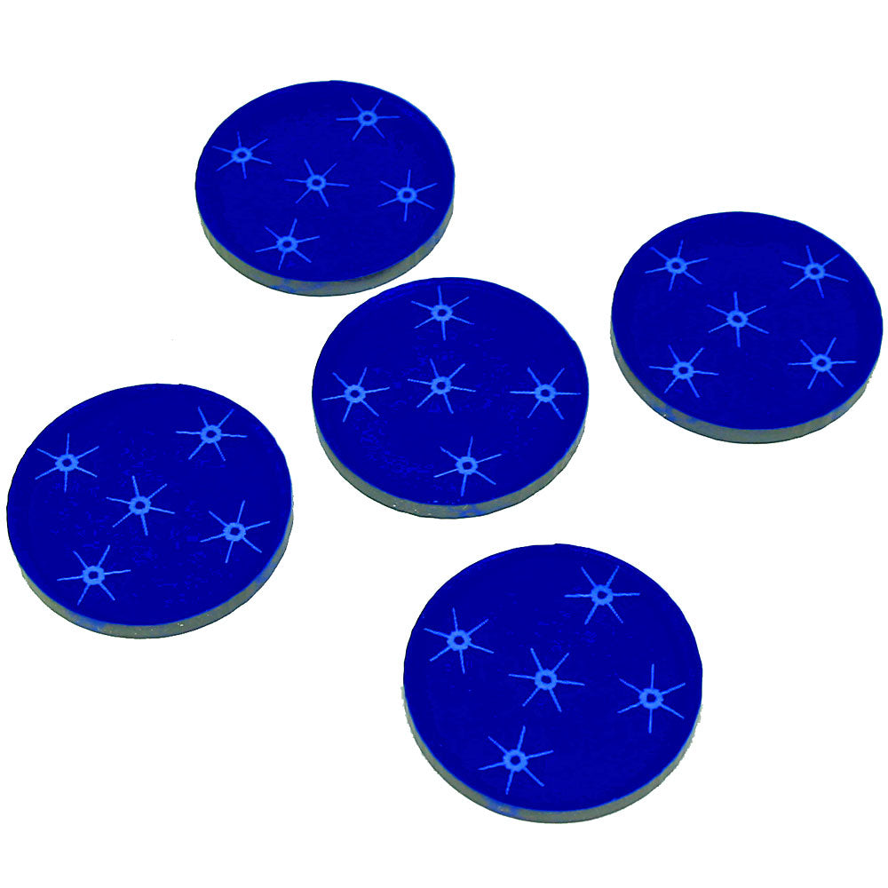Space Fighter Mine Area Tokens, Translucent Blue (5) - LITKO Game Accessories