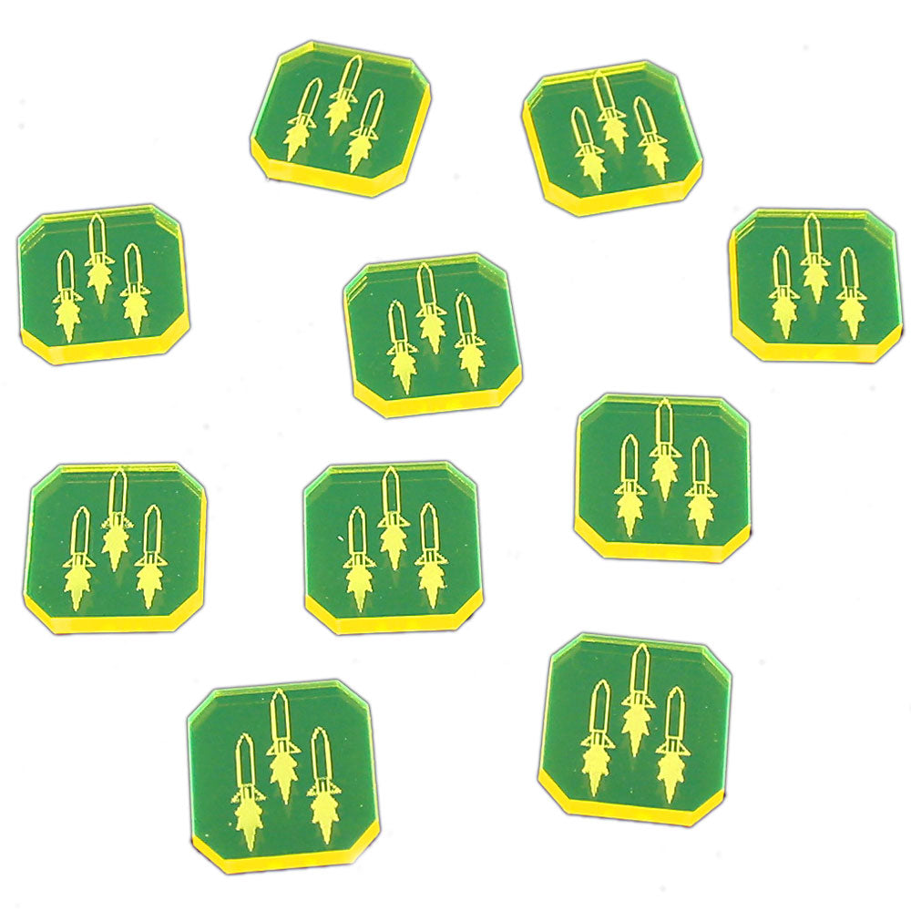 Space Fighter Homing Missile Tokens, Fluorescent Yellow (10) - LITKO Game Accessories