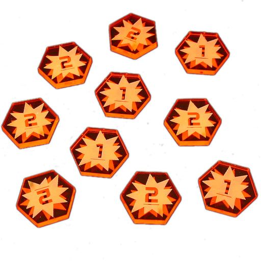 Space Fighter 1-2 Damage Tokens, Fluorescent Amber (10) - LITKO Game Accessories