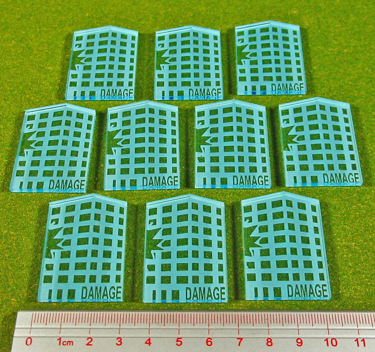 Dropzone, Building Damage Tokens, Transparent Light Blue (10) - LITKO Game Accessories