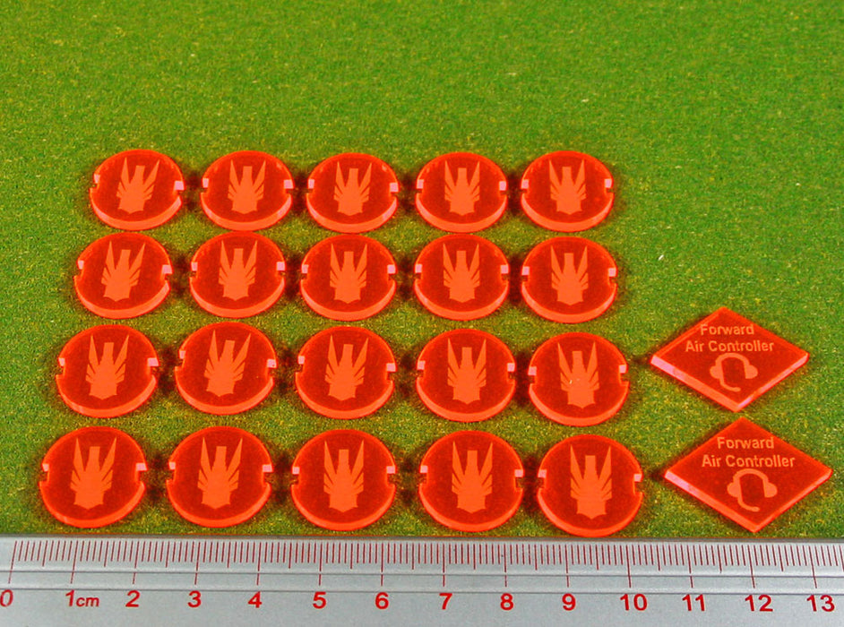 Dropzone United Faction Battle Group Tokens, Fluorescent Orange (22) - LITKO Game Accessories