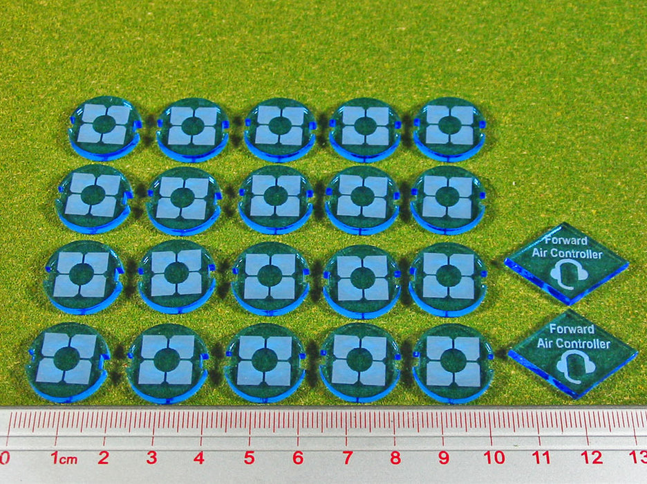 Dropzone Republic Faction Battle Group Tokens, Fluorescent Blue (22) - LITKO Game Accessories