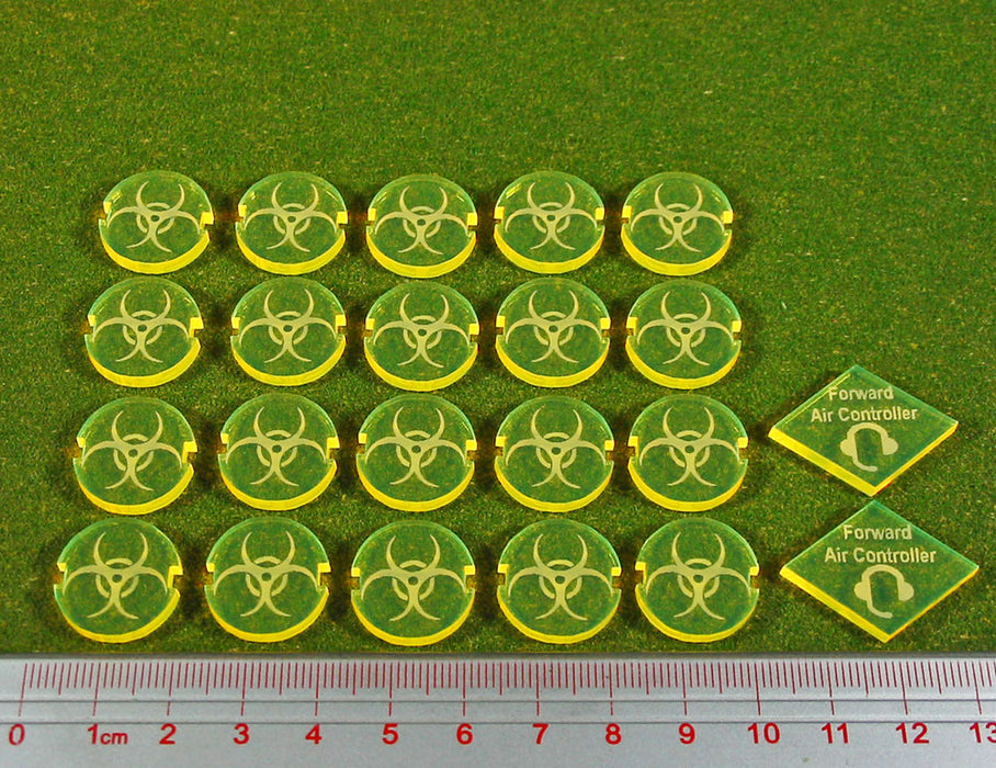 Dropzone Parasitic Faction Battle Group Tokens, Fluorescent Yellow (22) - LITKO Game Accessories