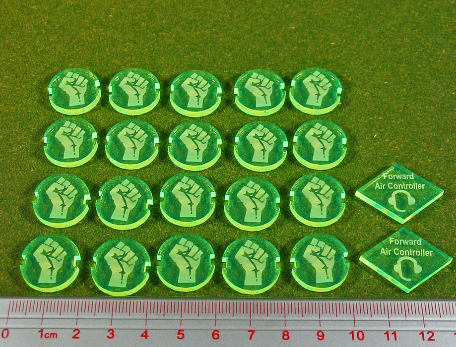 Dropzone Underground Faction Battle Group Tokens, Fluorescent Green (22) - LITKO Game Accessories