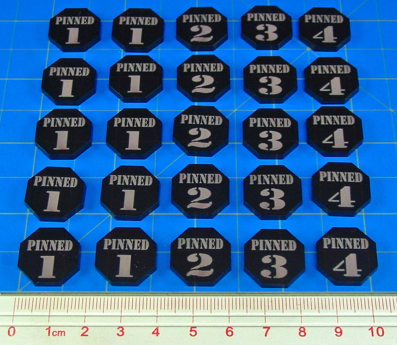 Pinned Token Set, Numbers 1-4, Translucent Red (25) - LITKO Game Accessories