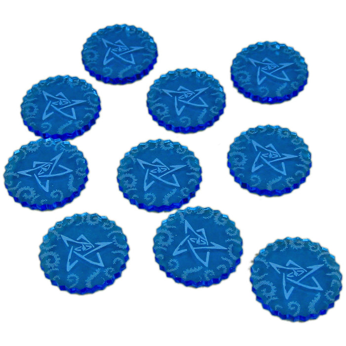 Cthulhu Mini Sealed Gate Tokens, Fluorescent Blue (10) - LITKO Game Accessories