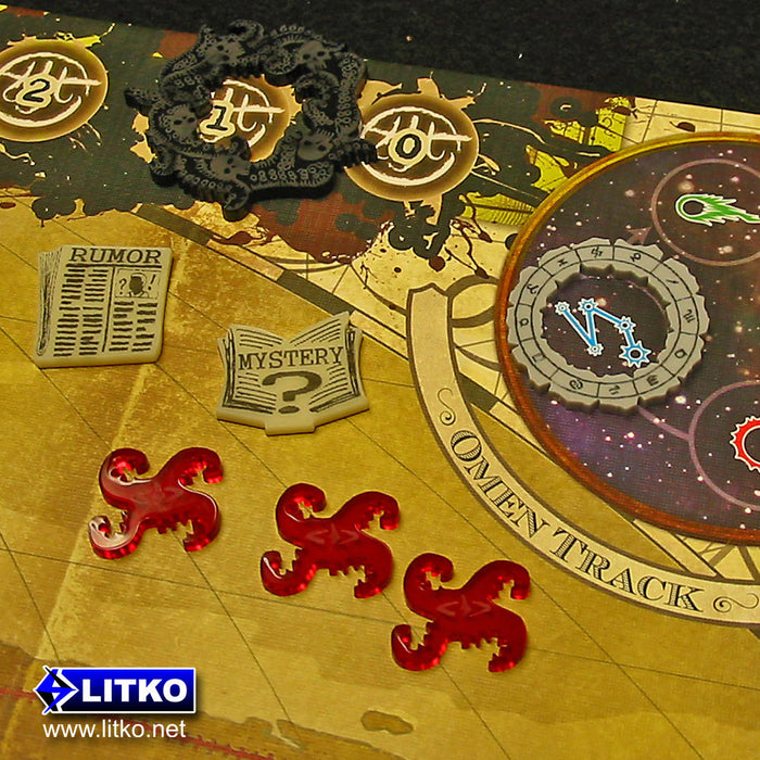 Cthulhu Tentacle Tokens, Translucent Red (10) - LITKO Game Accessories