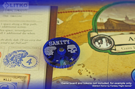 LITKO Cthulhu Sanity Dials, Fluorescent Blue & Translucent Blue (2) - LITKO Game Accessories