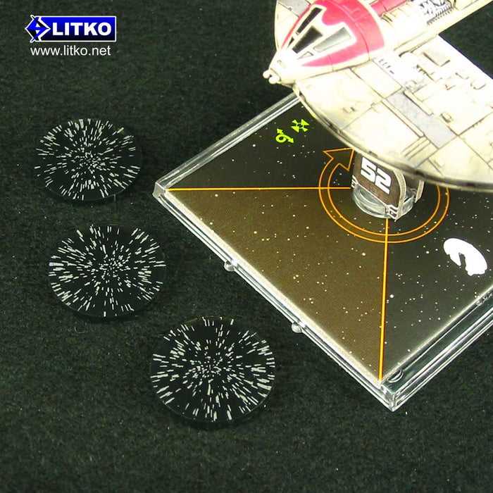 Space Fighter Micro Jump Tokens, Translucent Grey (3) - LITKO Game Accessories