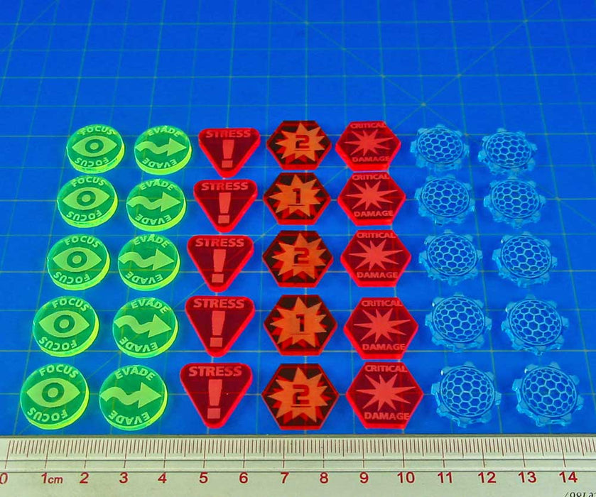 Space Fighter Expert Token Set, Multi-Color (35) - LITKO Game Accessories