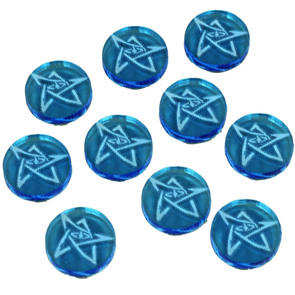 Cthulhu, Elder Symbol Tokens, Fluorescent Blue (10) - LITKO Game Accessories
