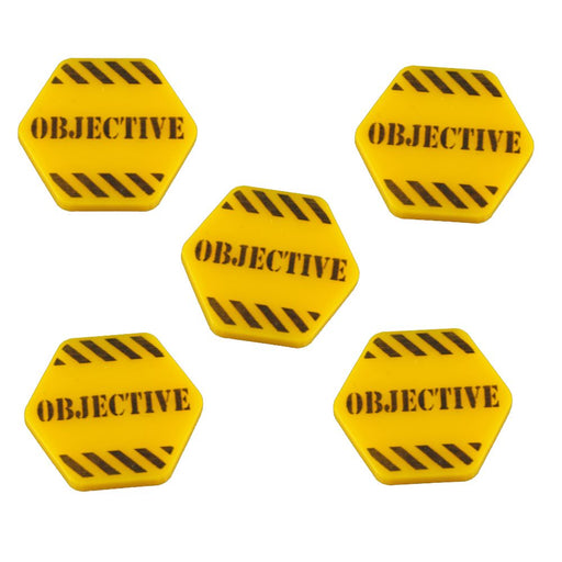 Hazard Stripe Objective Tokens, Gold (5) - LITKO Game Accessories