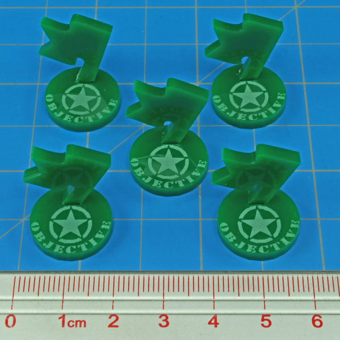 WWII American Mini Objective Markers, Green (5) - LITKO Game Accessories