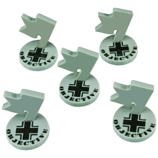WWII German Mini Objective Markers, Grey (5) - LITKO Game Accessories