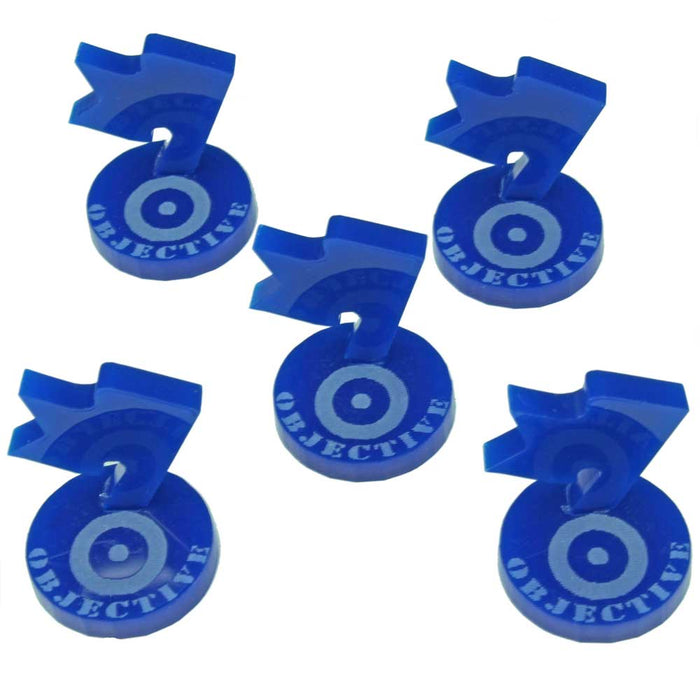 WWII British Mini Objective Markers, Blue (5) - LITKO Game Accessories