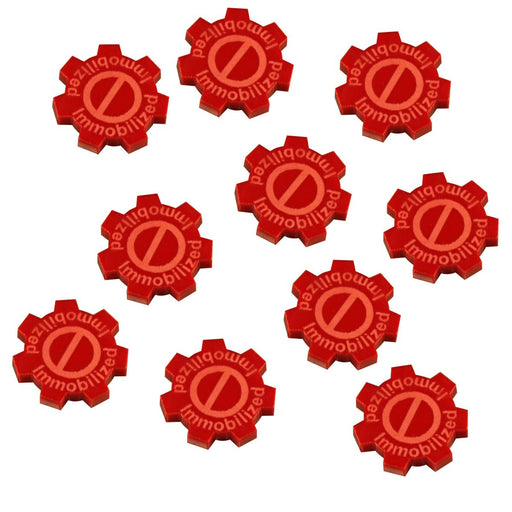 Immobilized Gear Tokens, Red  (10) - LITKO Game Accessories
