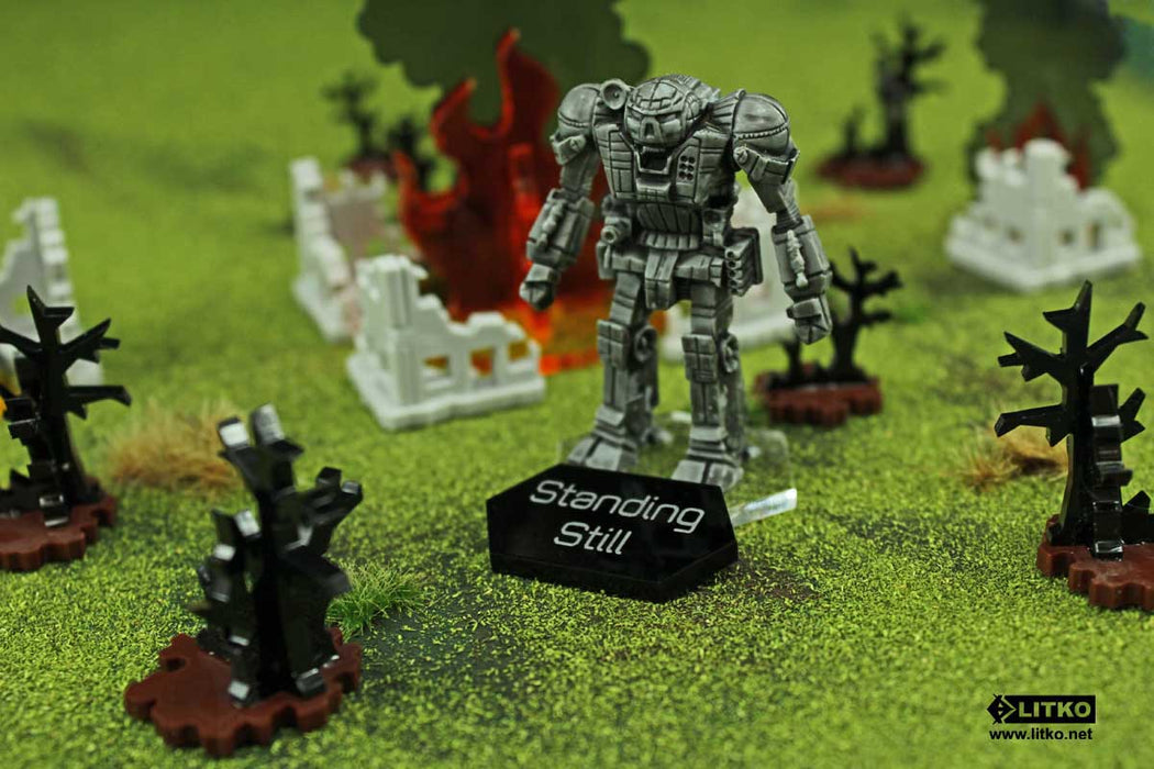 Mecha Combat Double-Sided Unconscious-Standing Still Tokens, Black (5) - LITKO Game Accessories