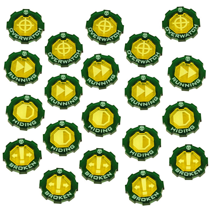 Armageddon Premium 2-Tone, Basic Token Set, Transparent Yellow & Translucent Green (20) - LITKO Game Accessories